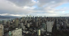 Aerial pan from downtown to stanley park Stock Footage