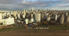 Left aerial sweep of English bay Stock Footage