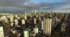 Magic hour aerial flight English bay Stock Footage