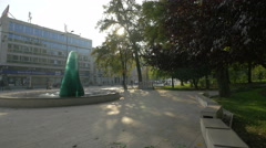 View of the Mother and Child War Memorial on Marsala Tita street in Sarajevo Stock Footage