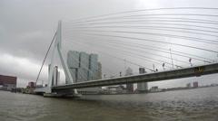 Rotterdam city center moving away from Erasmusbrug Ermasmus bridge 4k Stock Footage