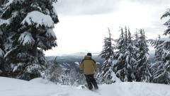 Skier Passing By On Mt Hood Stock Footage