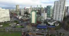 Aerial flight away from English Bay Stock Footage