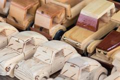 Woodwork - Wooden cars souvenirs - stock photo