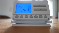 4K Setting Room Thermostat Temperature Up Celsius 3 - stock footage