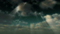 A starry sky emerges through clouds and light rays - Cloud FX0305 HD, 4K Stock Footage