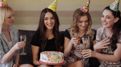 Girl congratulates her friend a happy birthday Stock Footage