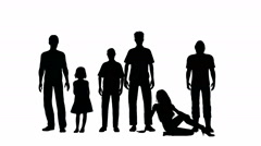 Six people in silhouette on a white background Stock Footage