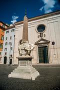 Rome - obelisk in Piazza Santa Maria sopra Minerva Stock Photos