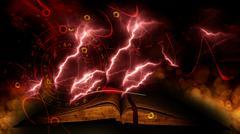 Vintage magic book on bokeh background - stock illustration