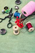 Tools and accessories for needlework. - stock photo