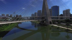 Aerial view of the most famous bridge in the city of Sao Paulo, Brazil Stock Footage