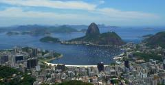Panoramic View of Rio de Janeiro Cityscape with Sugarloaf Mountain, Brazil - stock footage