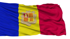 Isolated Waving National Flag of Andorra - stock footage