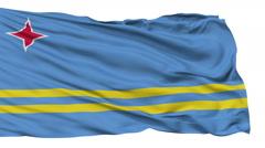 Isolated Waving National Flag of Aruba - stock footage