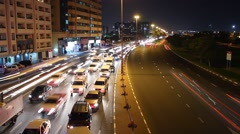 Night traffic congestion, top perspective view, time lapse, bending road Stock Footage