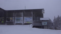 4k Cable Car mountain station Wurmberg Harz snow storm Stock Footage