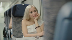 Journey of the blonde in the train Stock Footage