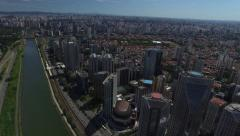 Aerial view of Marginal Pinheiros in Sao Paulo, Brazil Stock Footage