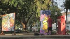 Graffiti Spray Paint in Mathris square, Paraty Rio de Janeiro Stock Footage