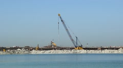 Artificial island development area, sand shore, sheathing, falsework Stock Footage