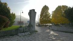 Đuro Đaković sculpture seen in the afternoon in Sarajevo Stock Footage