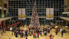 Large Christmas tree at huge mall atrium, against glass curtain wall Stock Footage