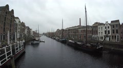 Camera pan of old harbour Delfshaven Rotterdam right to left old architecture 4k Stock Footage