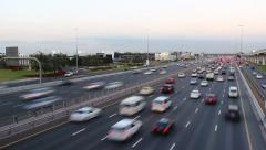 Very wide highway busy with traffic at dusk, perspective time lapse shot Stock Footage