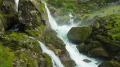 Kleivafossen Waterfall In  Jostedalsbreen National Park, Norway Stock Footage