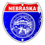 Nebraska Flag Icons As Interstate Sign - stock illustration