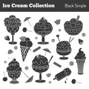 Collection of hand drawn ice cream treats Stock Illustration
