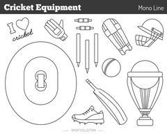 Stock Illustration of Vector cricket game design elements