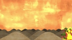 The Burning Bush in the Desert in a Cartoon Style Stock Footage