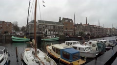 Walking through Delfshaven is a borough of Rotterdam on right bank of river 4k Stock Footage