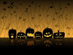 Jack O' lanterns at night Stock Illustration
