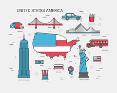 Stock Illustration of Country USA travel vacation guide of goods, places and features. Set of