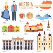 Country Austria travel vacation guide of goods, places and features. Set of - stock illustration
