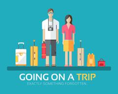 Journey vacation baggage in flat design background concept. Married couple with - stock illustration