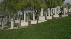 Hedija Hasanagic's tombstone in Groblje Alifakovac cemetery, Sarajevo - stock footage