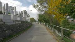View of a street in Groblje Alifakovac cemetery, Sarajevo - stock footage