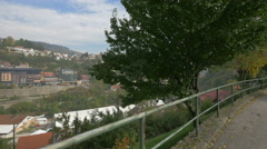 Hotel Saraj and other buildings seen from Groblje Alifakovac cemetery, Sarajevo Stock Footage