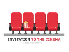 An invitation to the movie in flat design background concept. Armchairs cinema Piirros