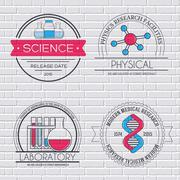 Science set label template of emblem element for your product or design, web and Stock Illustration