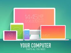 Mobile electronic devices on flat style concept background. Vector illustration Piirros