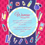 Women makeup cosmetics elements on pink background poster in sticker style - stock illustration