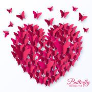 beautiful colorful butterfly heart on valintines day background concept. Vector - stock illustration