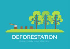 issue deforestation in flat design background concept. Ecological natural - stock illustration