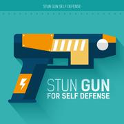 Stun gun for self defense. Vector icon illustration background. Colorful Stock Illustration