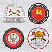firefighter label template of emblem element for your product or design, web and - stock illustration